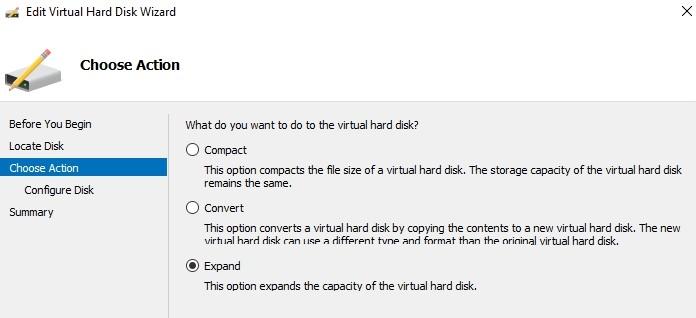 expand vhdx файл в hyper-v manager