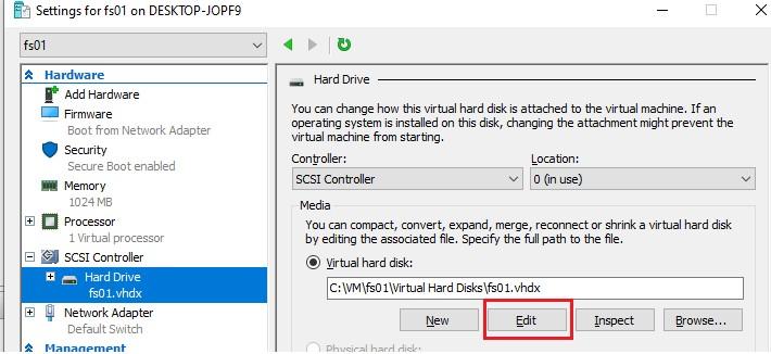 змінити розмір файлу віртуальної машини vhdx в hyper-v