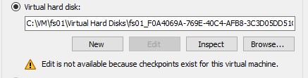 Edit is not available because checkpoint exist for this virtual machine