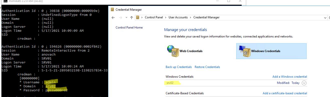 получаем сохраненные пароли Windows