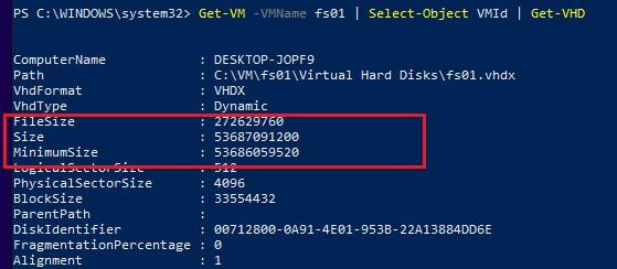 powershell получить текущий, минимальный и максимальный размер vhdx диска в hyper-v