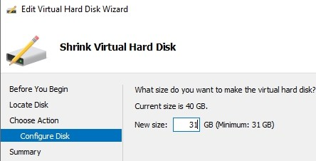 зменшити розмір віртуального диска hyper-v