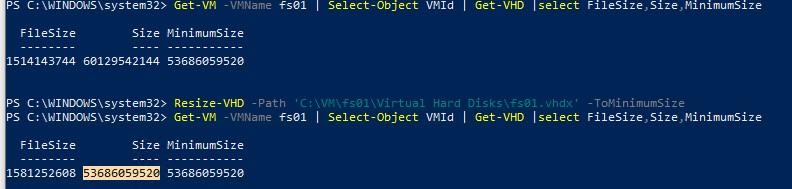 уменьшить размер виртуального диска hyperv командлет powershell resize-vhd tominimumsize