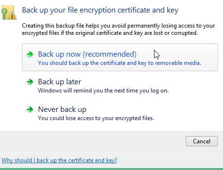 backup certificates efs windows 8