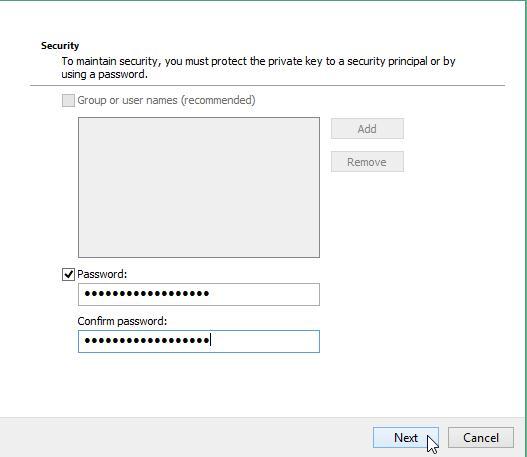 пароль доступа к сертификату