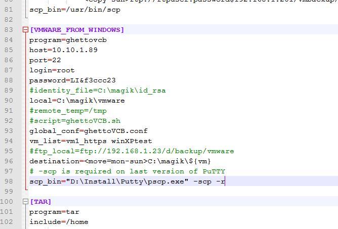 конфигурация скрипта резевного копирования виртуальных машин vmware esxi