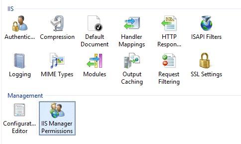 iis manager настройка прав удаленного доступа к IIS