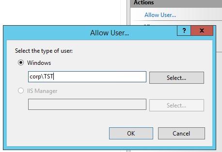 iis разрешить удаленное управление для пользователя