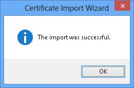 успешный импорт сертификата