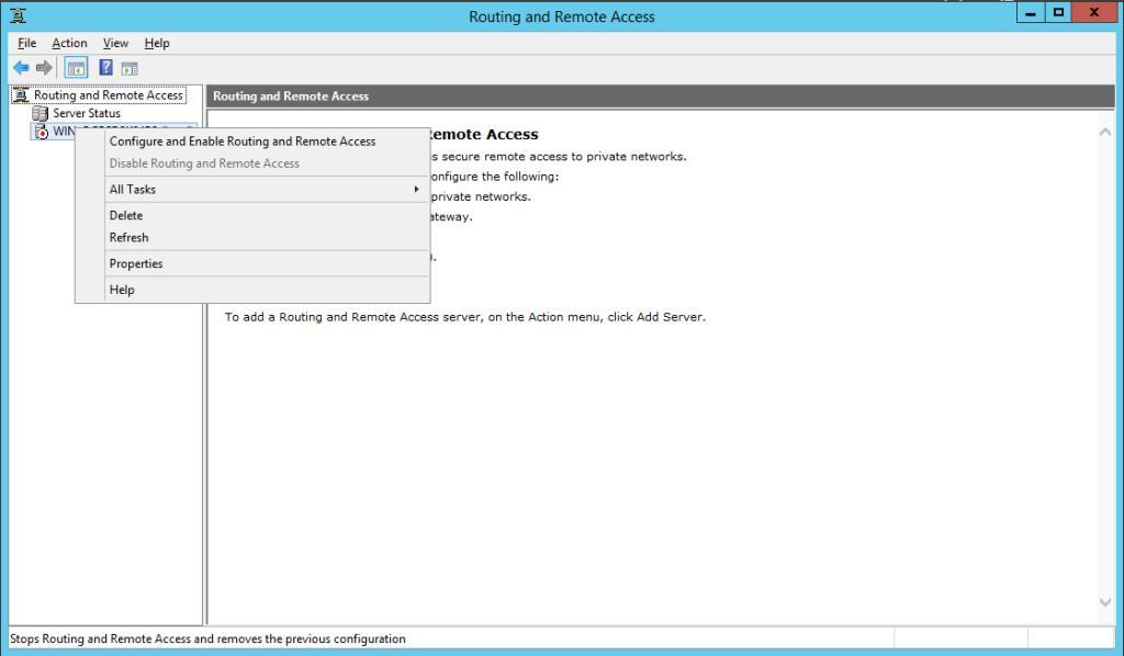 mmc консоль маршрутизації та віддаленого доступу в win2012r2