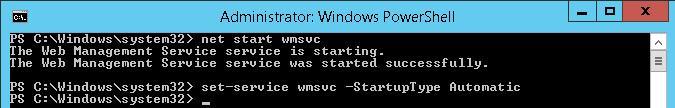 Запуск службы wmsvc (Web Management Service)