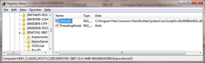 MCAfee заменят библиотеку обработчик vbs (vbscript.dll)