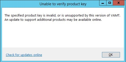 KMS ошибка Unable to verify product key