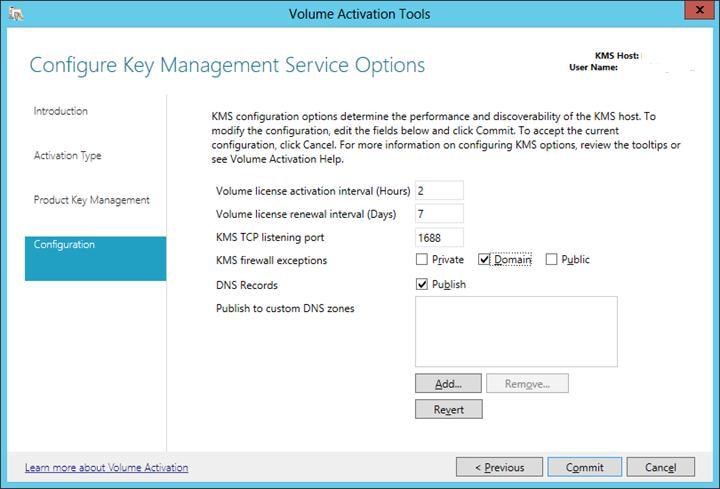 Расширенные опции настройки KMS сервера