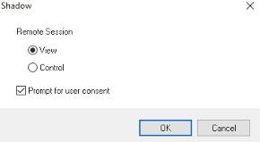 параметры теневогого подключения к рабочему столу пользователя