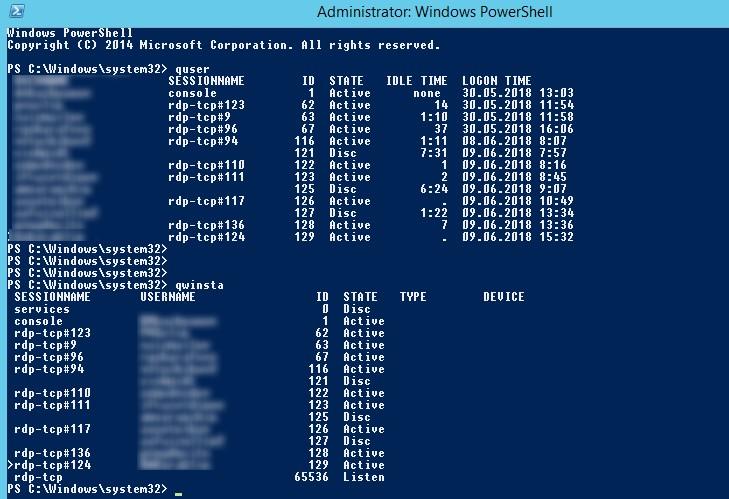 qwinsta - список RDP сесиий на удаленном сервере