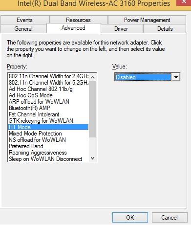 wi-fi адаптер отключить HT Mode