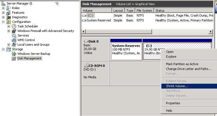 Уменьшение раздела в гостевой ОС Windows 2008