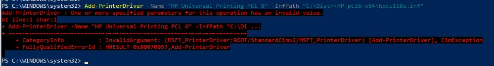 Add-PrinterDriver : One or more specified parameters for this operation has an invalid value