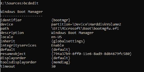 bcdedit висновок конфігурації windows boot manager файл bootmgfw.efi