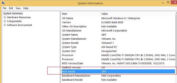 msinfo32 - система работает в bios mode=uefi