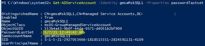 Get-ADServiceAccount passwordlastset