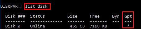 какая таблица разделов на диске gpt или mbr?
