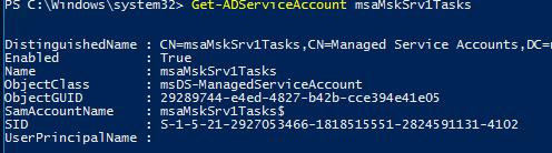 информация об аккаунте MSA - Get-ADServiceAccount