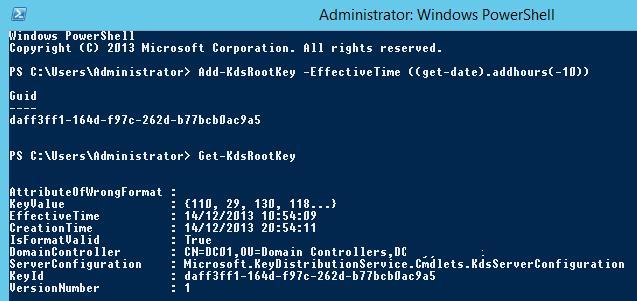 Создаем корневой ключ для службы Microsoft Key Distribution Services