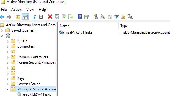контейнер Managed Service Accounts в active directory
