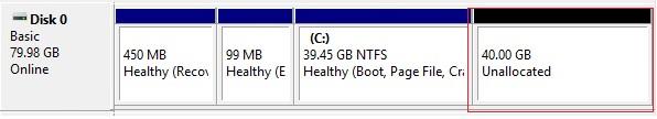 свободная (unallocated) область на диске в windows