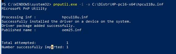 pnputil.exe установка драйвера друку з inf файлу