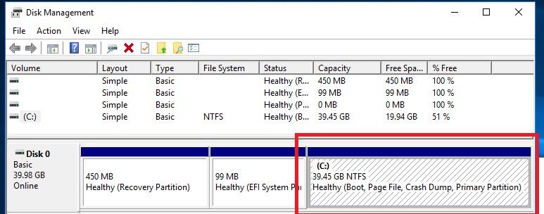 размер диска в виртуальной машине windows уменьшился