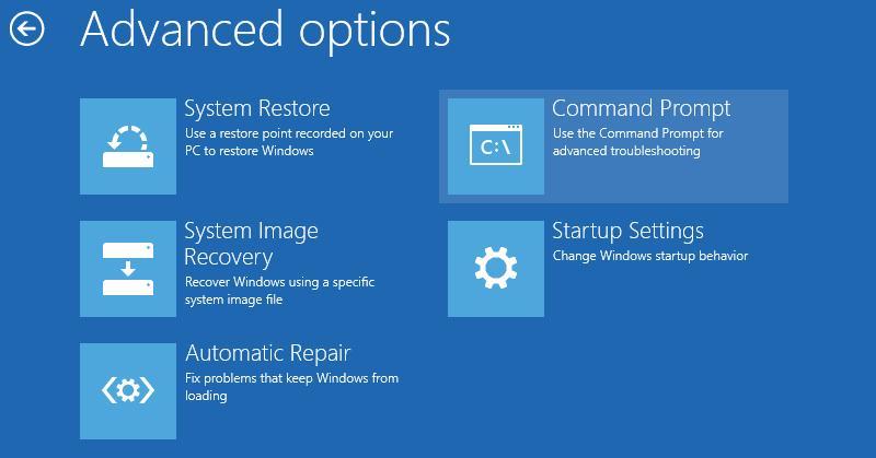 Командний рядок відновлення системи Windows 8