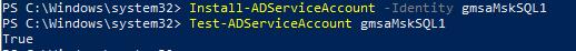 установка Install-ADServiceAccount на сервере