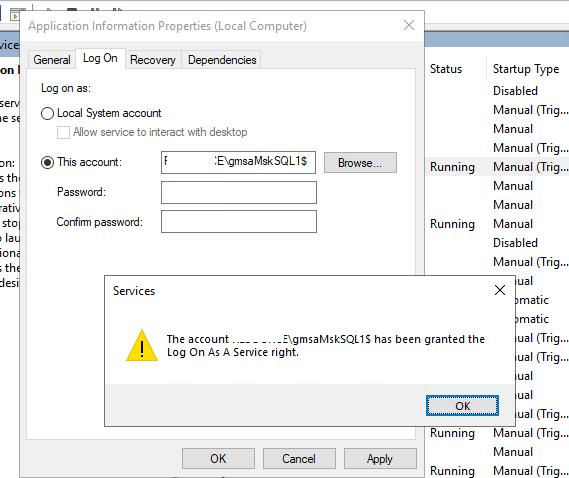 запуск службы windows от имени gMSA учетной записи