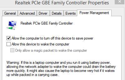 Запретить пробуждение Windows 8 при получении сетевого пакета от NIC