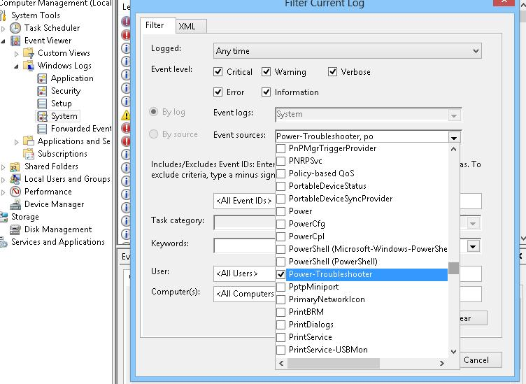 windows 8 событие включение питание (пробуждение) power-troubleshooter