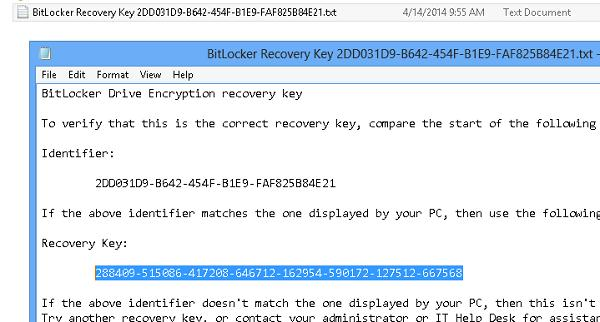 BitLockerRecoveryKey - ключ восстановления BitLocker