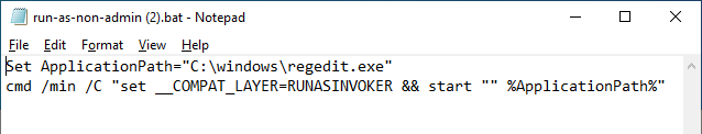 bat файл с параметром RUNASINVOKER
