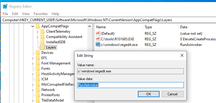 HKEY_CURRENT_USER\Software\Microsoft\Windows NT\CurrentVersion\AppCompatFlags\Layers RunAsInvoker