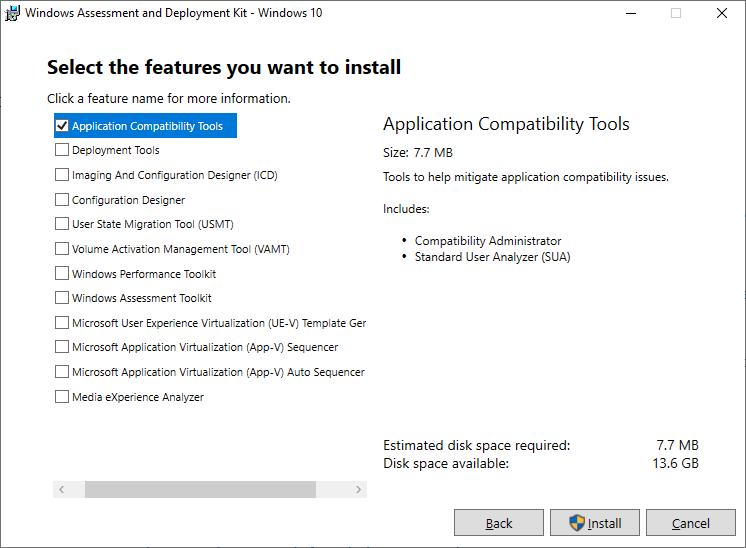 установка Application Compatibility Toolkit