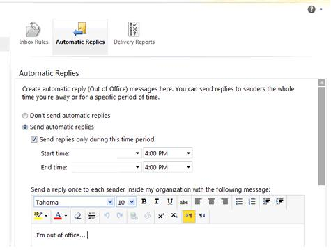 Срок действия и текст автоответа в Exchange