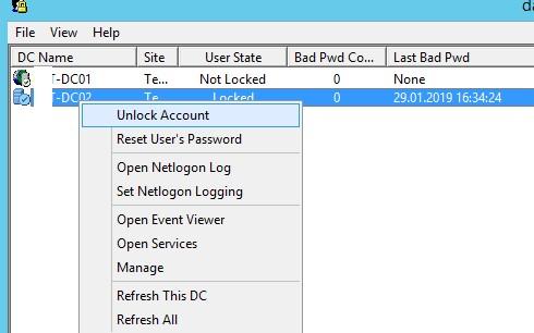 Lockoutstatus разблокировать пользователя