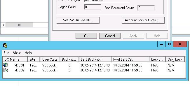 Запуск утилиты для сбора информации о блокировке учетки пользователя - LockoutStatus.exe