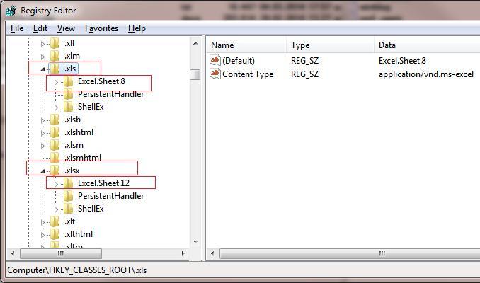 ассоциации файлов в excel2010