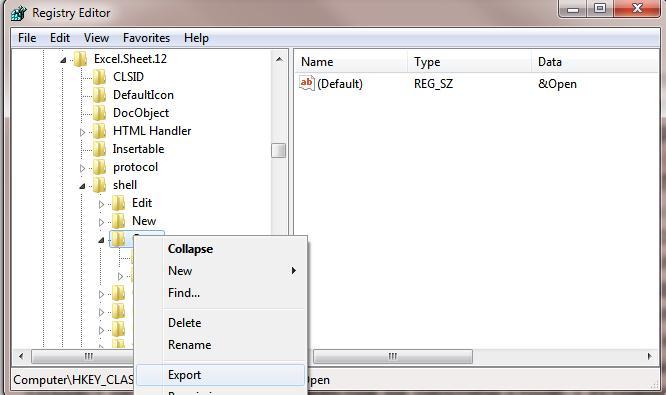 Экспорт ветки реестра в файл