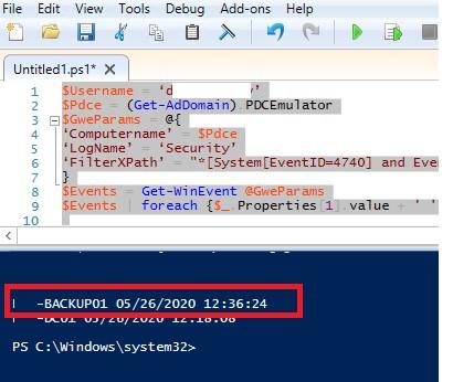 powershell скрипт ждя поиска источника блокировки пользователя по событию 4740