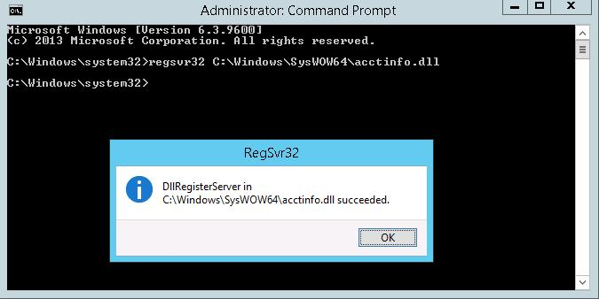 regsvr32 C:\Windows\SysWOW64\acctinfo.dll